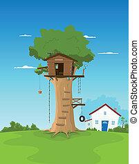 casa, árbol, jardín, traspatio