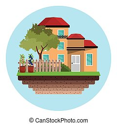 casa, árvore, jardim, cerca