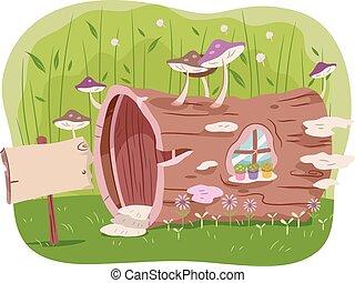 casa, árvore, jardim, tronco
