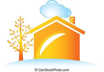 casa, árvore, logotipo