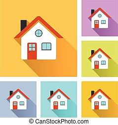 casa, ícones