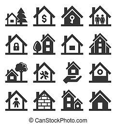 casa, ícones, jogo, branco, experiência., vetorial
