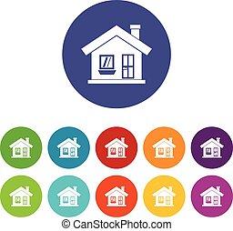 casa, ícones, jogo, chaminé, one-storey