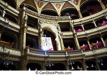casa ópera, budapest, antigas, estado