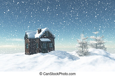casa, 3d, árvores, nevado