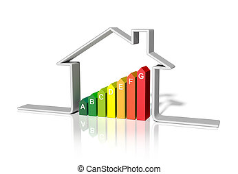 casa, 3d, -, energetico, interpretazione