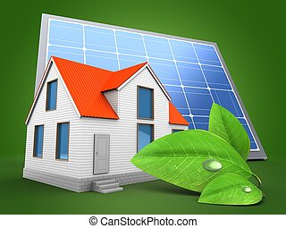 casa, 3d, painel solar