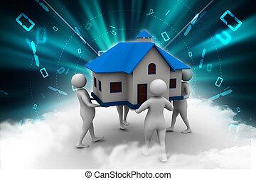 casa, 3d, presa a terra, persone