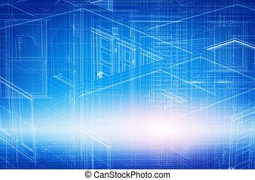 casa, 3d, projeto, desenho, em, blueprint, wireframe, geométrico, estrutura