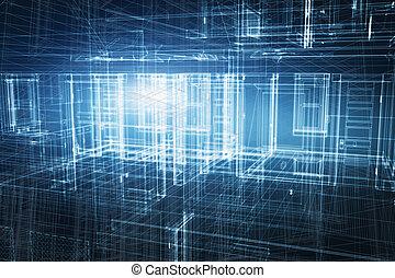 casa, 3d, proyecto, diseño, en, cianotipo, wireframe, geométrico, estructura