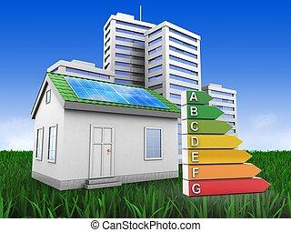 casa, 3d, verde, città