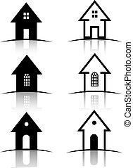 casa, 6, jogo, ícones