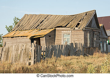 casa, abandonado, aldea
