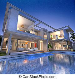casa, abierto, arcón, piscina