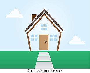 casa, abstratos, esboço