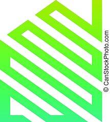 casa, abstratos, verde, logotipo