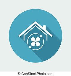 casa, acondicionador de aire, -, vector, tela, icono