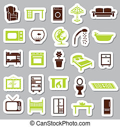 casa, adesivi, apparecchiatura