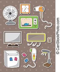 casa, adesivi, apparecchio, cartone animato