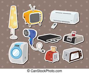 casa, adesivi, cartone animato, apparecchi