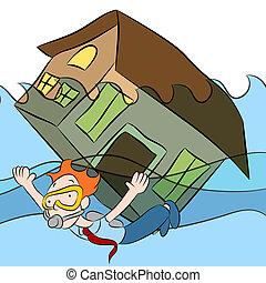 casa, afundamento