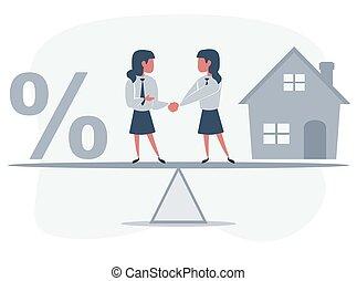 casa, agitação, entre, balanço, unity., compras, ficar, sócios, pessoas, mãos, negócio, símbolo, cento, house., sinal., mulher