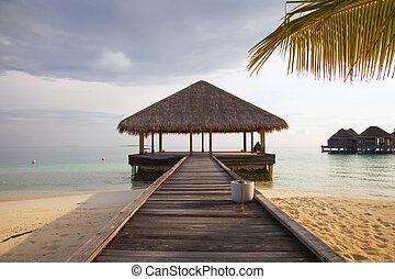 casa, agua, hermoso, maldivas, vista, bungalow, abierto