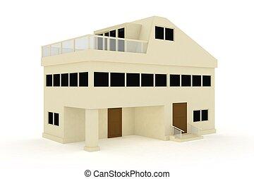 casa, aislado, balcón