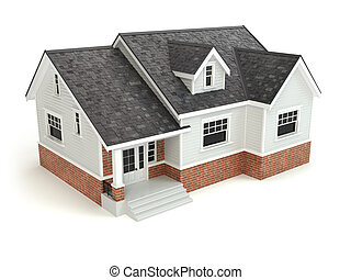 casa, aislado, en, white., bienes raíces, concept.