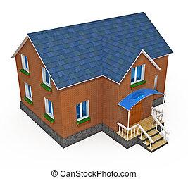 casa, aislado, privado, plano de fondo, nuevo, blanco