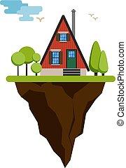 casa, alberi., volare, illustrazione, vettore, isola, cartone animato