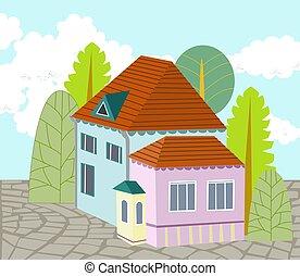 casa, albero, carino, cortile, circondato, ciottolo, pavimentato