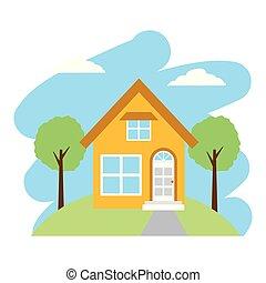 casa, albero, giardino