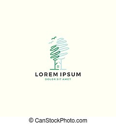 casa, albero, vettore, sagoma, logotipo, uccello, icona