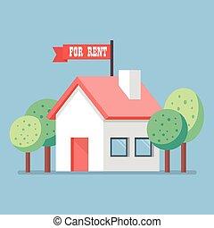 casa, aluguel, apartamento, ícone