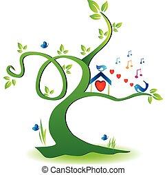 casa, amare uccelli, albero, logotipo