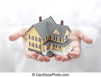 casa, amarela, mãos
