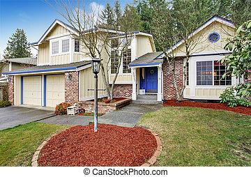 casa, amarela, tradicional, brick., vermelho, noroeste