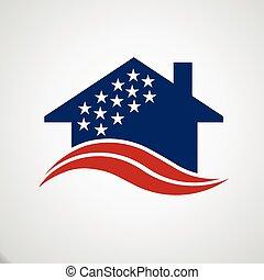 casa, americano, logotipo
