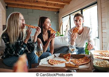 casa, amici, mangiare, tre, pizza