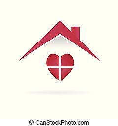 casa, amor, logotipo