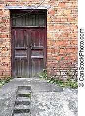 casa, antiguo, puerta