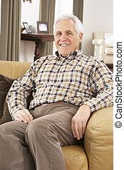 casa, anziano, sedia, rilassante, uomo