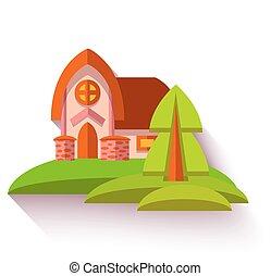 casa, apartamento, estilo, ilustração, cute