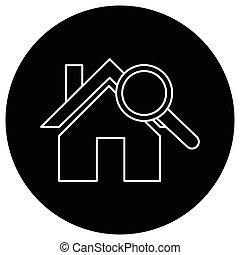 casa, apartamento, pretas, procurar, ícone