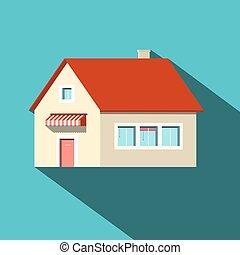 casa, appartamento, disegno, vettore, icona