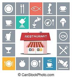 casa, appartamento, ristorante, vettore, icone