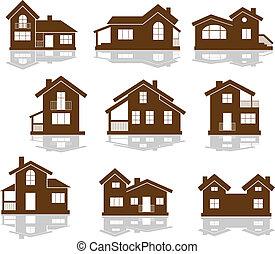 casa, appartamento, set, icone