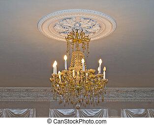 casa, araña de luces, viejo, oro
