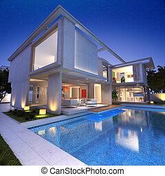 casa, arcón, piscina